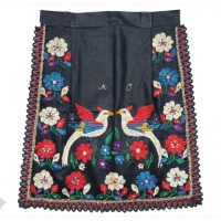 Black Cotton Embroidered Apron with Birds | Nizny Klatov, Slovakia
